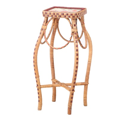 French Rattan and Wicker Plant Stand, Manner of Maison Drucker, 20th Century