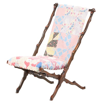 Late Victorian Twig-Carved Sling-Back Lounge Chair