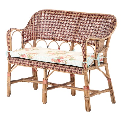 French Rattan and Wicker Settee, Manner of Maison Drucker, 20th Century