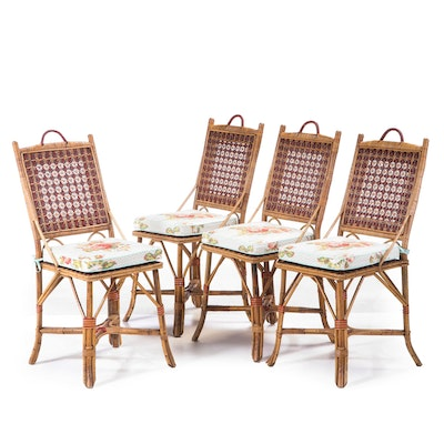 Four French Rattan & Wicker Side Chairs, Manner of Maison Drucker, 20th Century
