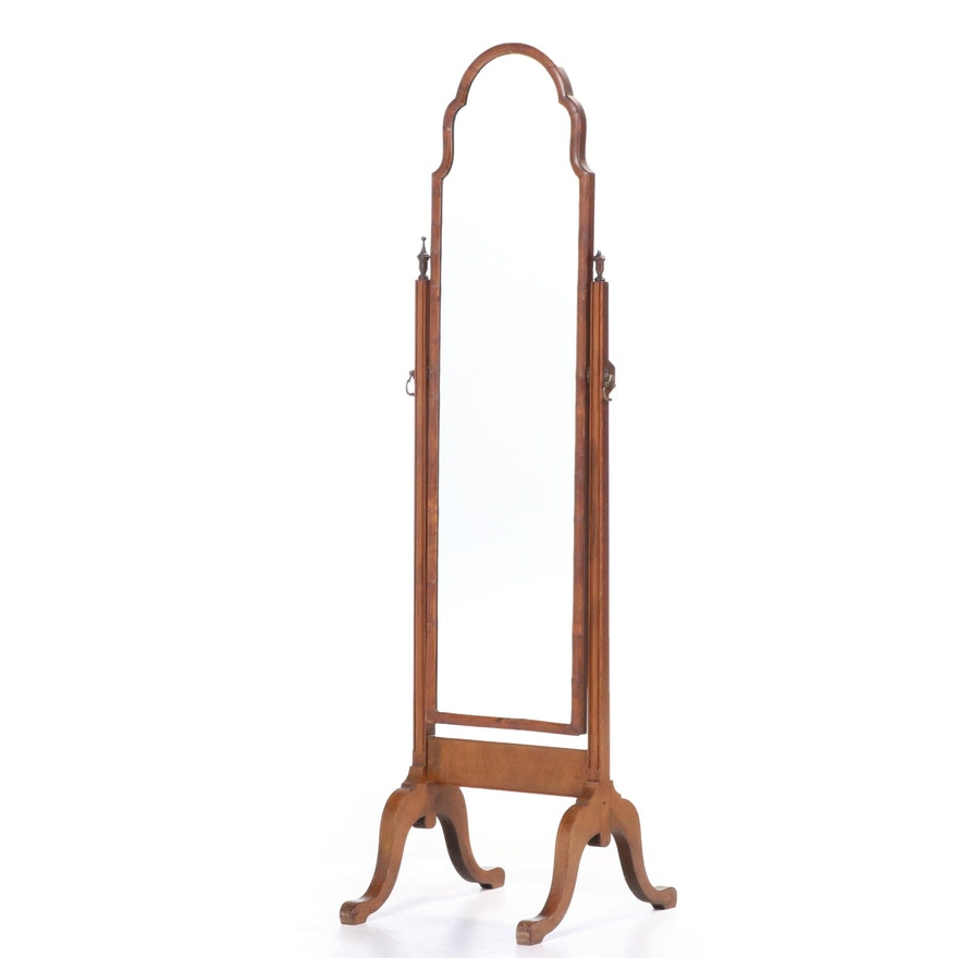Queen Anne Style Walnut Cheval Mirror, Early 20th Century