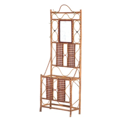 French Rattan and Wicker Hall Stand, Manner of Maison Drucker, 20th Century