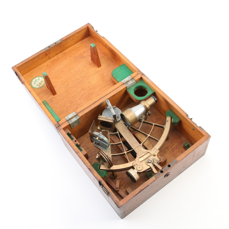 Japanese Tamaya & Co. Brass Sextant with Case, 1961