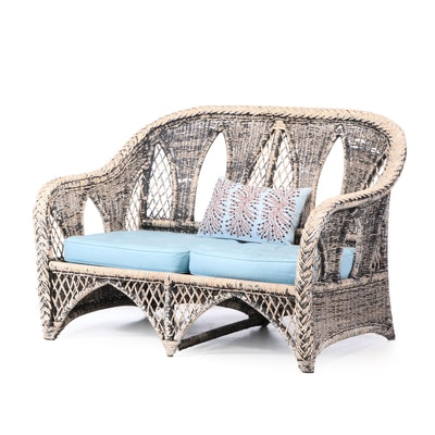 Painted Wicker Settee, 20th Century