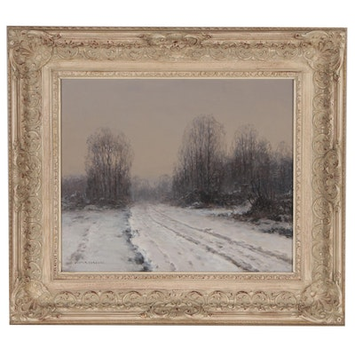 Wictor Korecki Rural Winter Landscape Oil Painting, Mid 20th Century