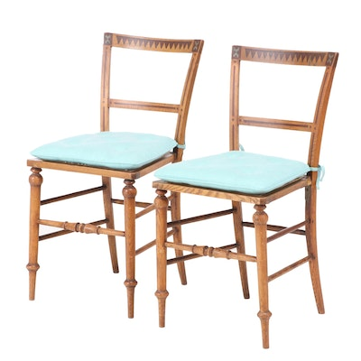 Pair of Polychrome-Decorated Oak and Ash Side Chairs