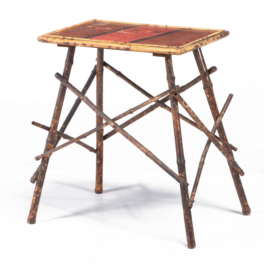 Late Victorian Bamboo and Lacquer Japonaiserie Side Table