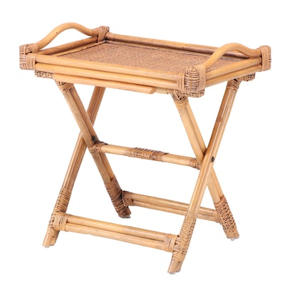 Indonesian Bamboo Folding Tray-Top Side Table