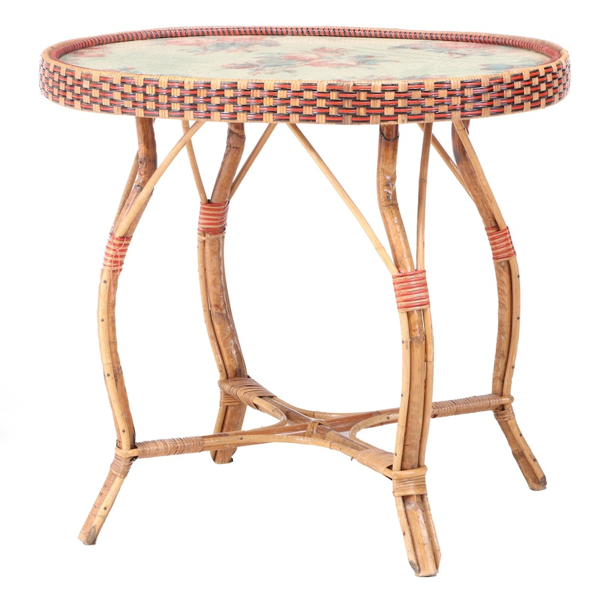 French Rattan and Wicker Side Table, Manner of Maison Drucker, 20th Century
