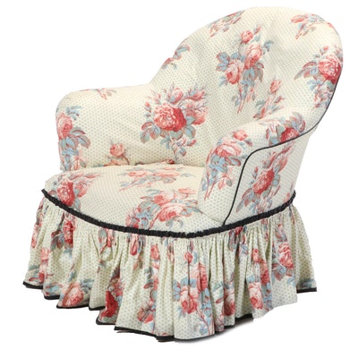 Floral Slip-Covered Tub Chair, 20th Century
