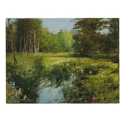 "Garncarek Aleksander Landscape Oil Painting ""Pond"""