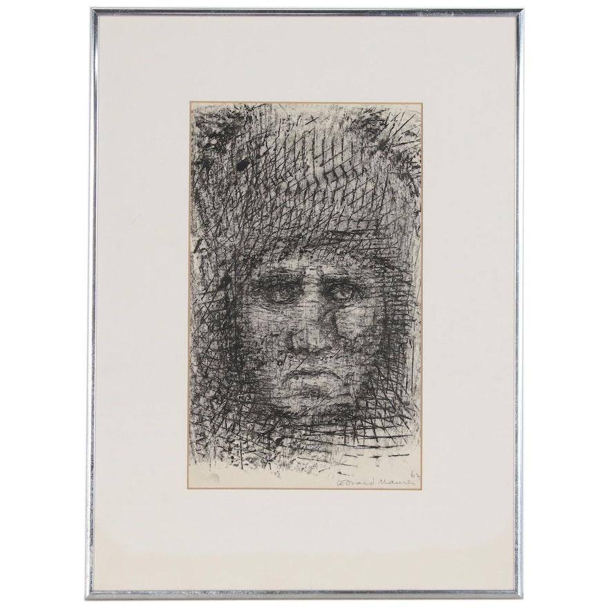 Leonard Maurer Charcoal Drawing of Woman's Head, 1962