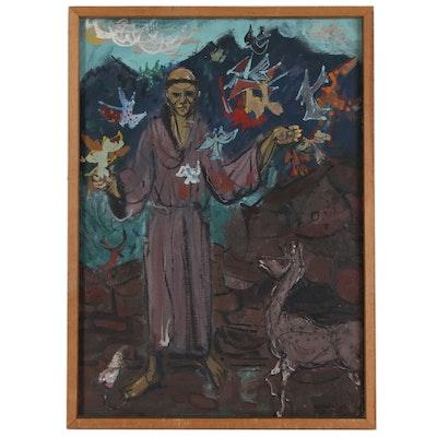 Leonard Maurer Modernist Figure Painting of Saint Francis of Assisi, 1948
