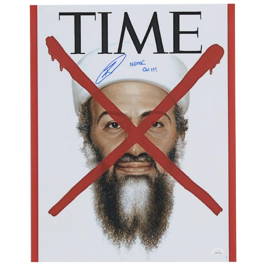 """Robert O'Neil Signed """"Never Quit"""" Osama Bin Laden Poster, JSA COA"""