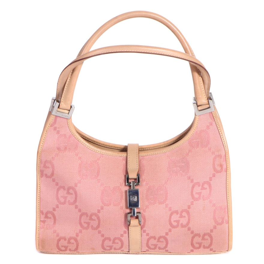 Gucci Bardot Bag in Pink GG Canvas with Nude Leather Trim and Piston Lock