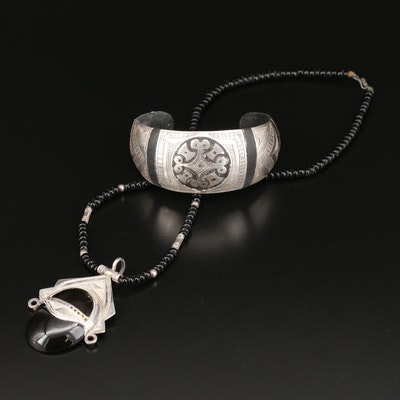 Fine Silver Tuareg Ebony Wood Cuff and Fine Silver Black Onyx and Glass Necklace