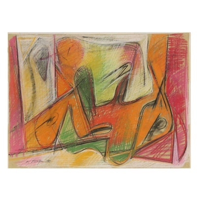 Walter Stomps Abstract Expressionist Pastel Drawing, 1960
