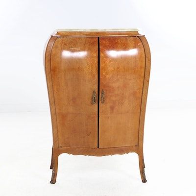 Louis XV Style Onyx Top Burled Wood Bombe Cabinet, 20th C.