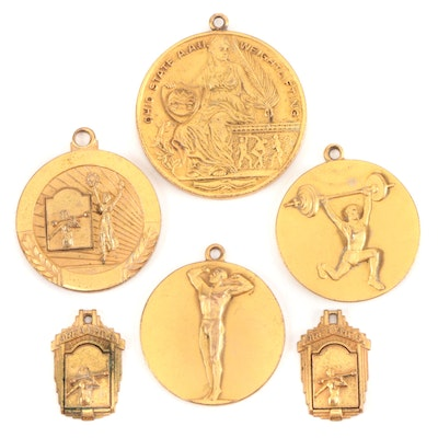 "Weightlifting Medals ""Ohio A.A.U,"" ""Best Stomach Mr. Cin. '48,"" Mid-20th Century"