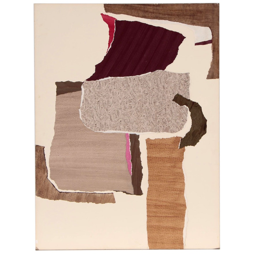 Charles Nelson Bradley Abstract Mixed Media Collage , 1982