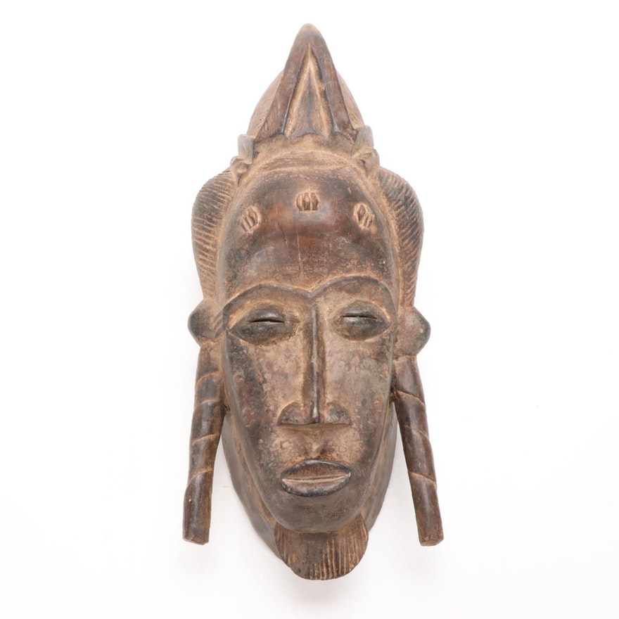 Baule Style Hand-Carved Wood Mask, West Africa