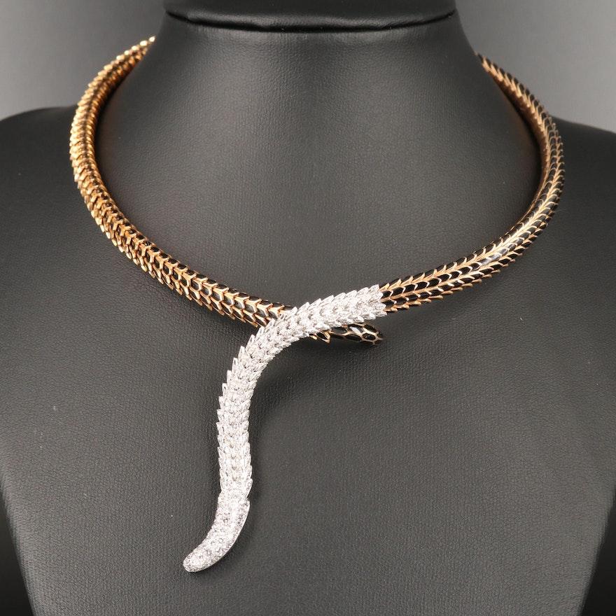 "Roberto Coin ""Cobra"" 18K 1.90 CTW Diamond and Enamel Torque"