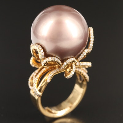 18K Pearl and Diamond Statement Ring with Ribbon Motif