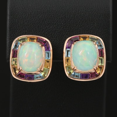 EFFY 14K Opal Earrings with Mixed Gemstone Halos