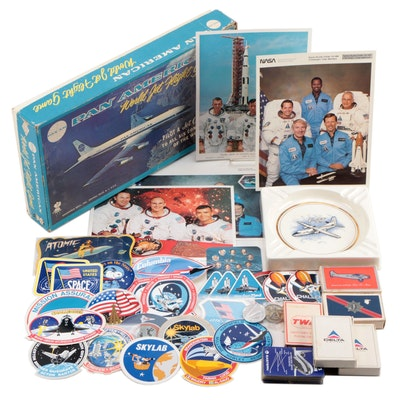 """Space Exploration/Aviation Playing Cards, """"Pan American"""" Game, """"F-27"""" Ashtray"""