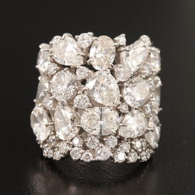 14K 9.63 CTW Diamond Cluster Ring
