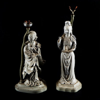 Chinese Porcelain Deity Lamps, Early to Mid 20th Century
