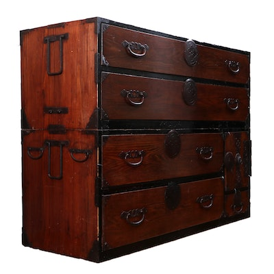 Japanese Tansu Style Stained Wood Chest on Chest, Early 20th Century