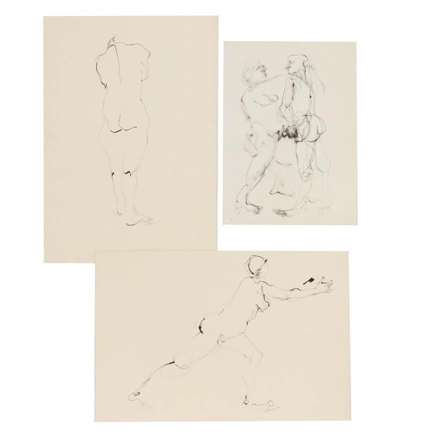 John Tuska Pen and Ink Figure Drawings, Late 20th Century