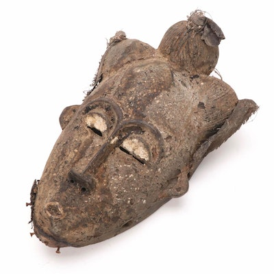 Baule Carved Wood Mask with Mud Patina, West Africa