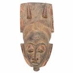 Baule Style Carved Wood Mask, Côte d'Ivoire