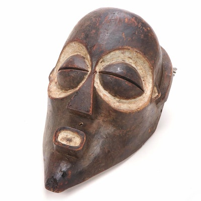 Luba Style Hand-Carved Mask, Central Africa