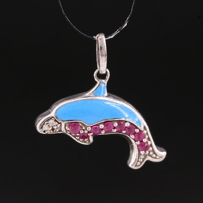 Sterling Silver Ruby and Diamond Dolphin Pendant