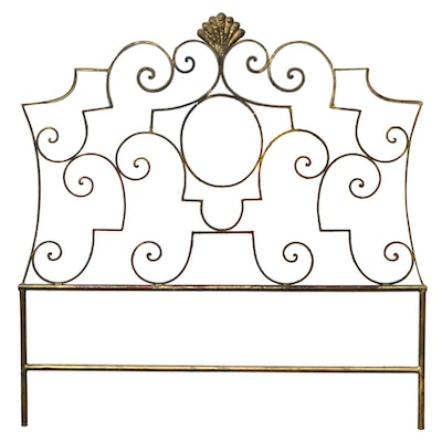 French Provincial Style Scrolled Metal Headboard, Mid-20th Century