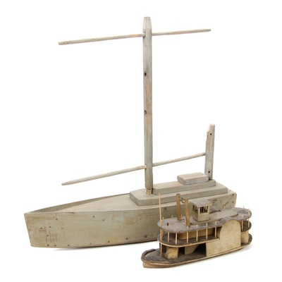 Folk Art Handcrafted Distressed Wood Model Ships
