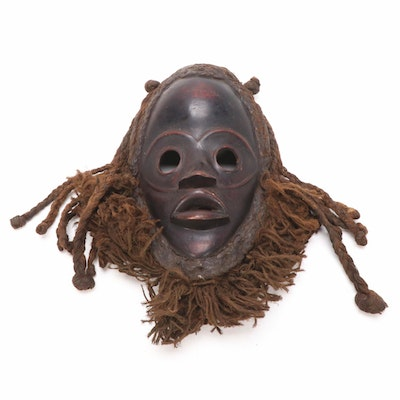 Dan Hand-Carved Wood Spirit Mask with Woven Fiber