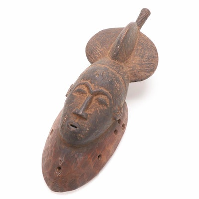Baule Style Hand-Carved Wood Mask, 20th Century
