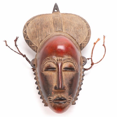 Baule Style Carved Wood Mask, West Africa