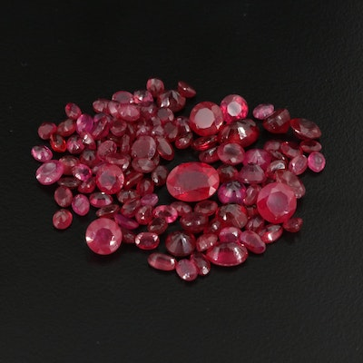Loose 50.28 CTW Oval and Round Faceted Rubies