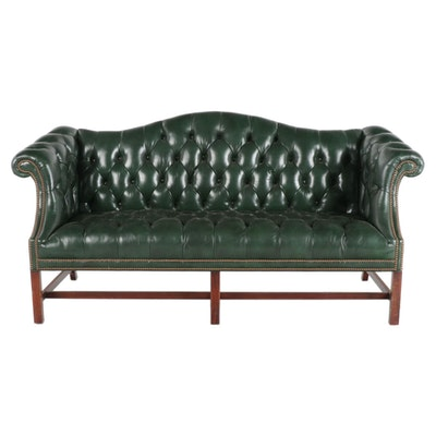 Southwood Chippendale Style Tufted Leather Camel Back Settee, Late 20th Century