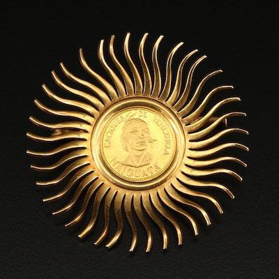 18K Venezuelan Coin Brooch with Sunburst Design