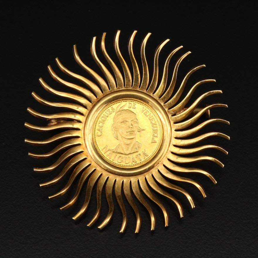 18K Venezuelan Coin Brooch with Sunburst Design