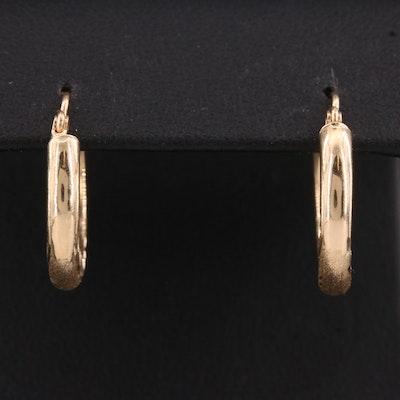14K Small Hoop Diamond Etched Earrings