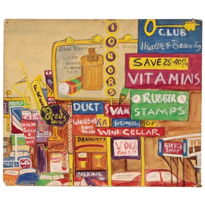 Edith Hay Wyckoff Oil Painting Street Scene with Advertisements, 1967