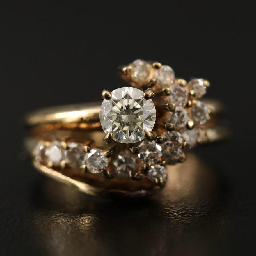 14K 1.00 CTW Diamond Swirl Ring