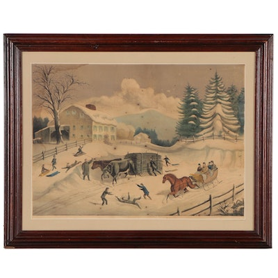 "Haskell & Allen Hand Colored Lithograph""Winter"", Circa 1870"